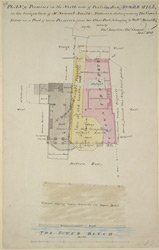 Plan of premises on the north side of Postern Row, Tower Hill